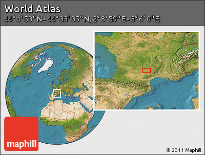 """Satellite Location Map of the Area around 44°19'14""""N,2°37'30""""E"""