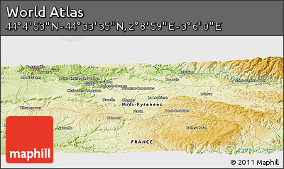 """Physical Panoramic Map of the Area around 44°19'14""""N,2°37'30""""E"""