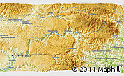 """Physical 3D Map of the area around 44°19'14""""N,3°28'30""""E"""