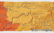 """Political 3D Map of the area around 44°19'14""""N,3°28'30""""E"""