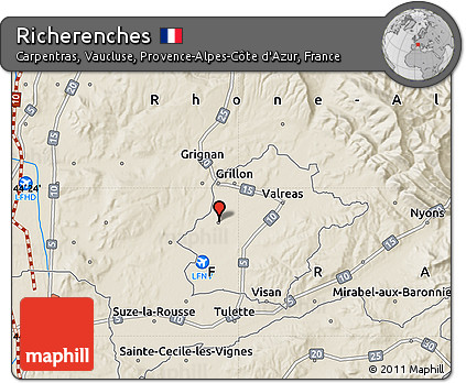 Carpentras France Map.Free Shaded Relief Map Of Richerenches