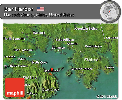 Corea Maine Map.Free Satellite 3d Map Of Bar Harbor
