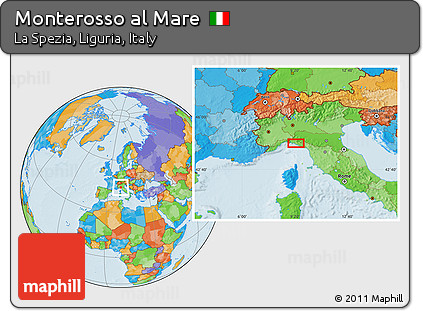 Free Political Location Map Of Monterosso Al Mare