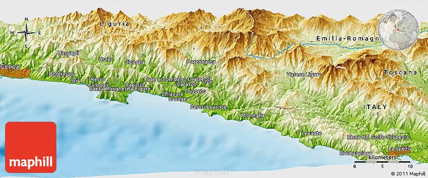 Physical Panoramic Map Of Santa Margherita Ligure
