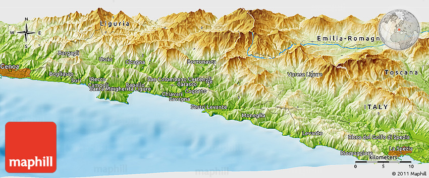 Corniglia Italy Map.Physical Panoramic Map Of Corniglia