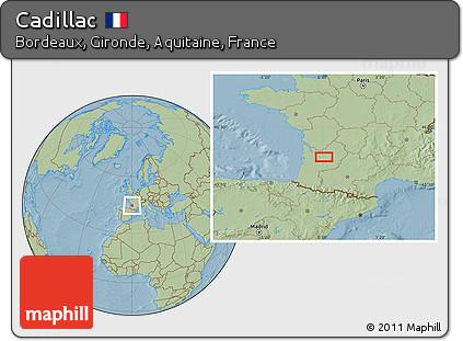 Free Savanna Style Location Map of Cadillac, hill shading