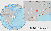 Gray Location Map of Mudanjiang