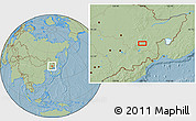 Savanna Style Location Map of Mudanjiang, hill shading