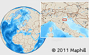 """Shaded Relief Location Map of the area around 44°44'51""""N,12°49'29""""E"""