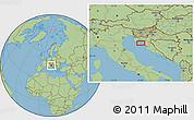 "Savanna Style Location Map of the area around 44°44'51""N,14°31'30""E"
