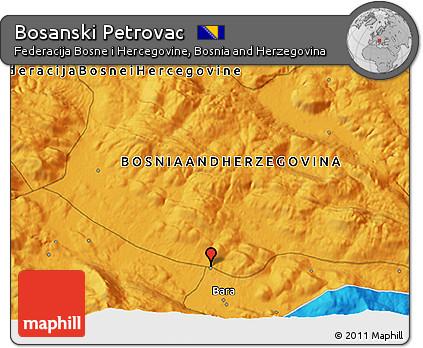 Political 3D Map of Bosanski Petrovac