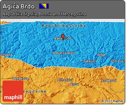 Political 3D Map of Agića Brdo
