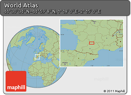"Savanna Style Location Map of the Area around 44°44'51""N,1°46'29""E"