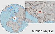 Gray Location Map of Krtinska, hill shading