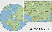 "Savanna Style Location Map of the area around 44°44'51""N,22°10'29""E"