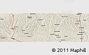 Shaded Relief Panoramic Map of Budeşti