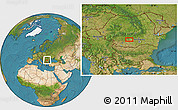 """Satellite Location Map of the area around 44°44'51""""N,24°43'30""""E"""