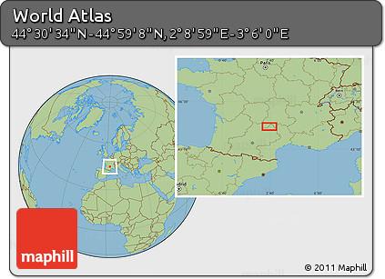 "Savanna Style Location Map of the Area around 44°44'51""N,2°37'30""E"