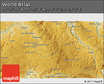 """Physical 3D Map of the Area around 44°44'51""""N,3°28'30""""E"""