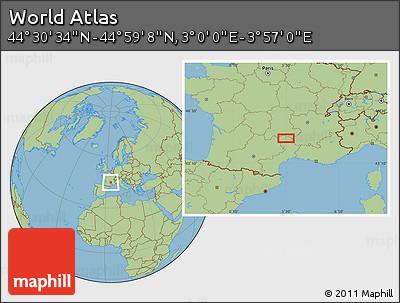 "Savanna Style Location Map of the Area around 44°44'51""N,3°28'30""E"