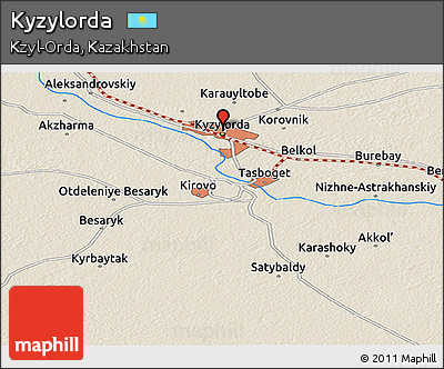 Free Shaded Relief Panoramic Map of Kyzylorda