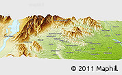 """Physical Panoramic Map of the area around 44°2'4""""S,170°55'30""""E"""