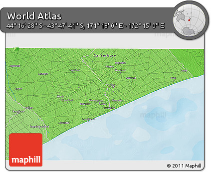 """Political 3D Map of the Area around 44°2'4""""S,171°46'30""""E"""