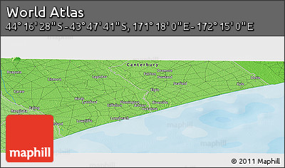 """Political Panoramic Map of the Area around 44°2'4""""S,171°46'30""""E"""
