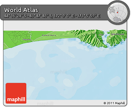 """Political 3D Map of the Area around 44°2'4""""S,172°37'30""""E"""