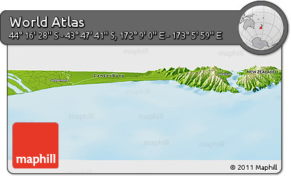 """Physical Panoramic Map of the Area around 44°2'4""""S,172°37'30""""E"""