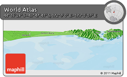 """Political Panoramic Map of the Area around 44°2'4""""S,172°37'30""""E"""