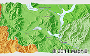 """Political 3D Map of the area around 44°27'46""""S,170°4'29""""E"""