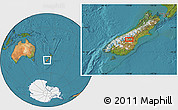 "Satellite Location Map of the area around 44°27'46""S,170°4'29""E"
