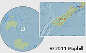 """Savanna Style Location Map of the area around 44°27'46""""S,170°4'29""""E, hill shading"""