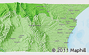 """Political 3D Map of the area around 44°27'46""""S,170°55'30""""E"""