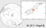 """Blank Location Map of the area around 44°27'46""""S,170°55'30""""E"""