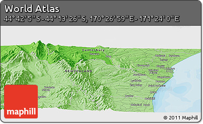 """Political Panoramic Map of the Area around 44°27'46""""S,170°55'30""""E"""