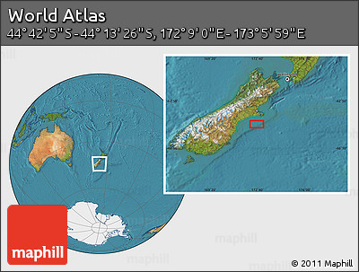 "Satellite Location Map of the Area around 44°27'46""S,172°37'30""E"