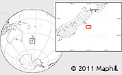 """Blank Location Map of the area around 44°27'46""""S,173°28'29""""E"""