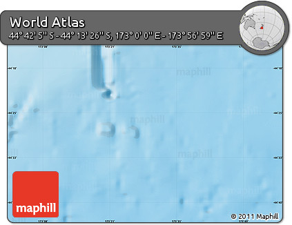 """Shaded Relief Map of the Area around 44°27'46""""S,173°28'29""""E"""