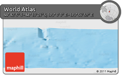 """Shaded Relief Panoramic Map of the Area around 44°27'46""""S,173°28'29""""E"""