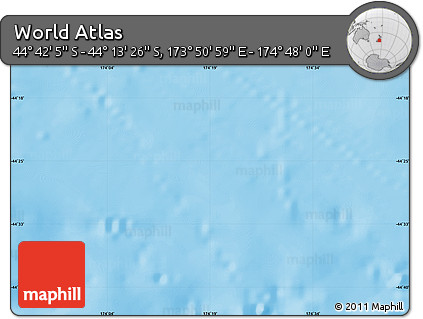 """Physical Map of the Area around 44°27'46""""S,174°19'29""""E"""