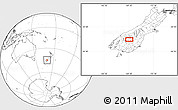 """Blank Location Map of the area around 44°53'21""""S,169°13'29""""E"""