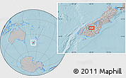 """Gray Location Map of the area around 44°53'21""""S,169°13'29""""E, hill shading"""