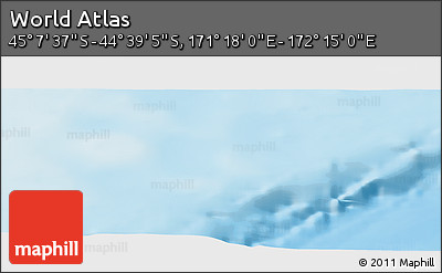 """Physical Panoramic Map of the Area around 44°53'21""""S,171°46'30""""E"""