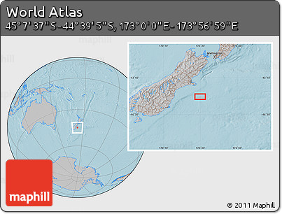 """Gray Location Map of the Area around 44°53'21""""S,173°28'29""""E, hill shading"""