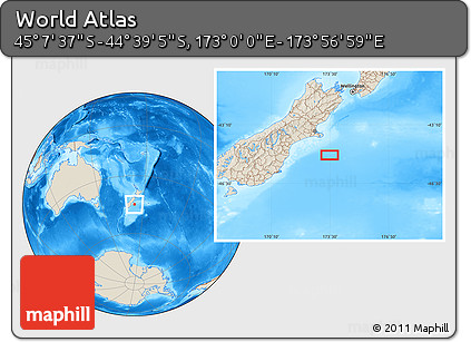 """Shaded Relief Location Map of the Area around 44°53'21""""S,173°28'29""""E"""