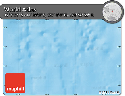 """Shaded Relief Map of the Area around 44°53'21""""S,173°28'29""""E"""