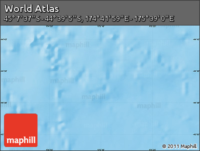 """Physical Map of the Area around 44°53'21""""S,175°10'30""""E"""