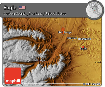 Free Physical Map Of Eagle - Montana physical map united states